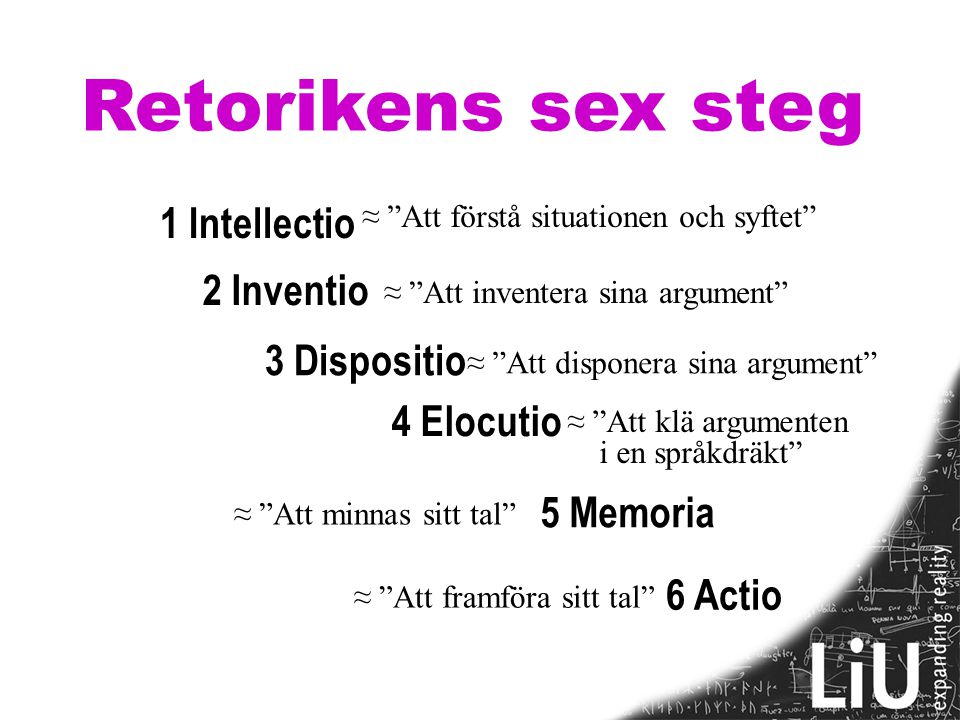 Retorikens sex steg 1 Intellectio 2 Inventio 3 Dispositio 4 Elocutio
