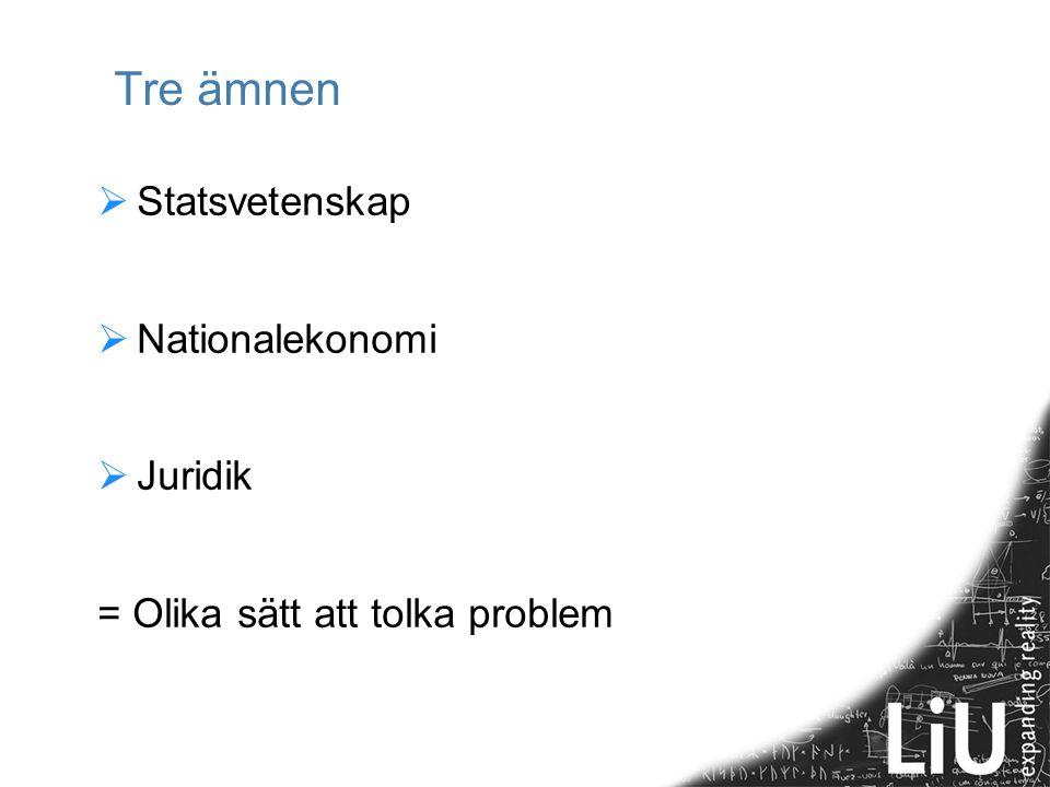 Tre ämnen Statsvetenskap Nationalekonomi Juridik