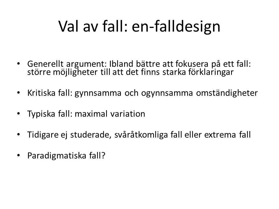 Val av fall: en-falldesign