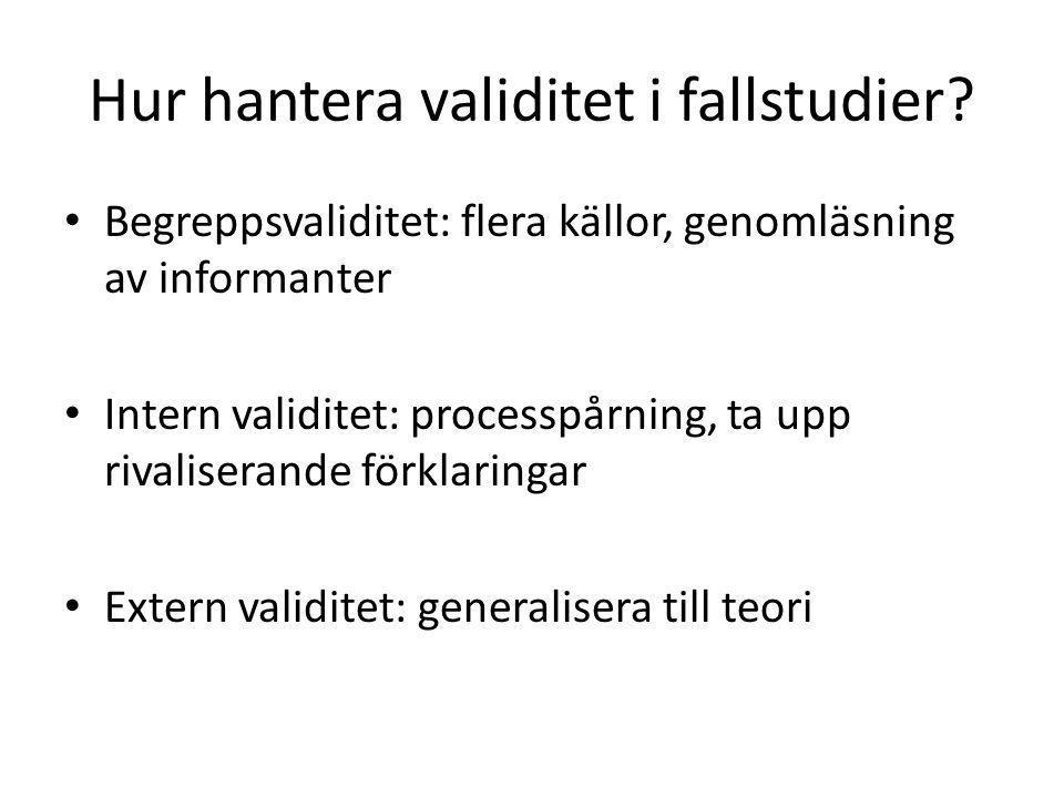 Hur hantera validitet i fallstudier