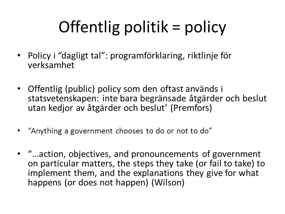 Offentlig politik = policy