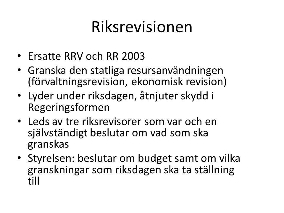 Riksrevisionen Ersatte RRV och RR 2003