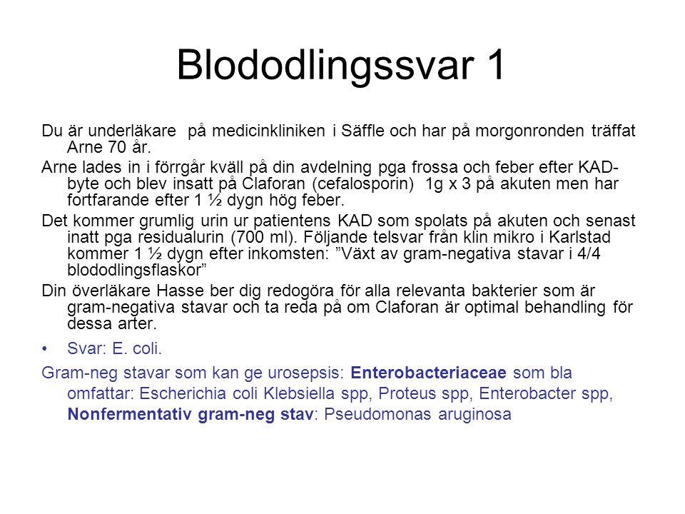 Blododlingssvar 1 Du är underläkare på medicinkliniken i Säffle och har på morgonronden träffat Arne 70 år.