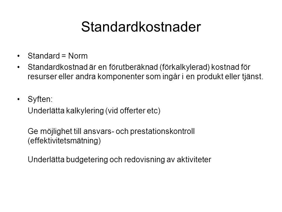 Standardkostnader Standard = Norm