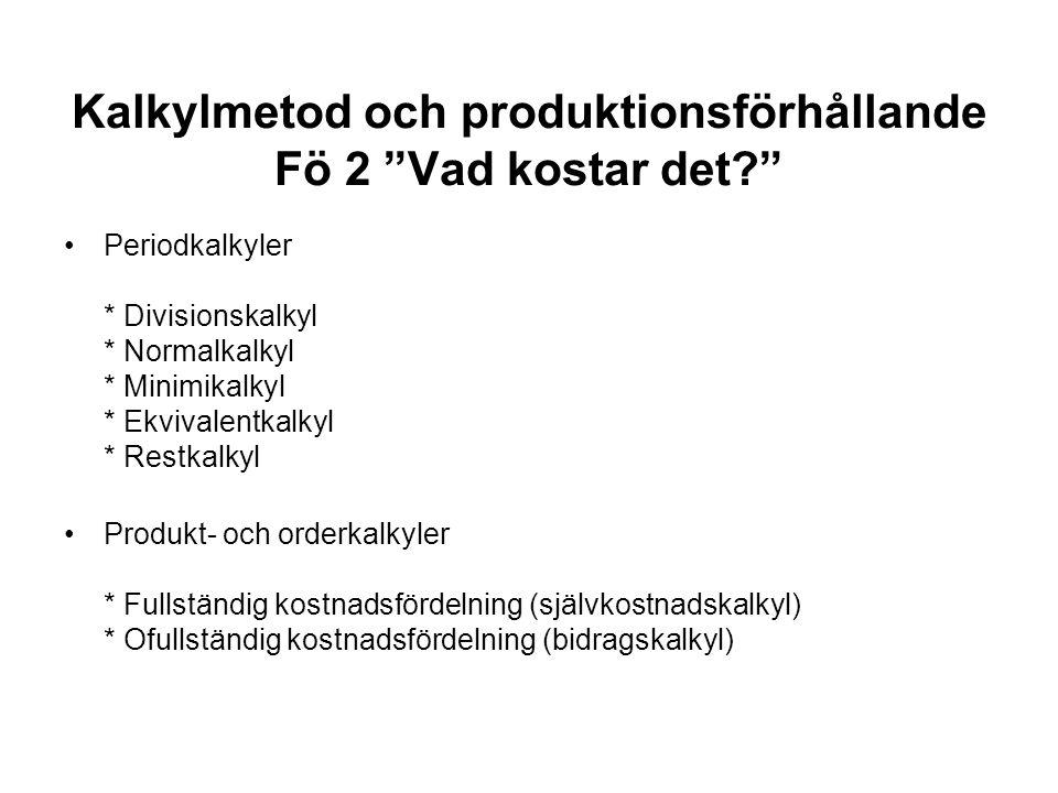 Kalkylmetod och produktionsförhållande Fö 2 Vad kostar det