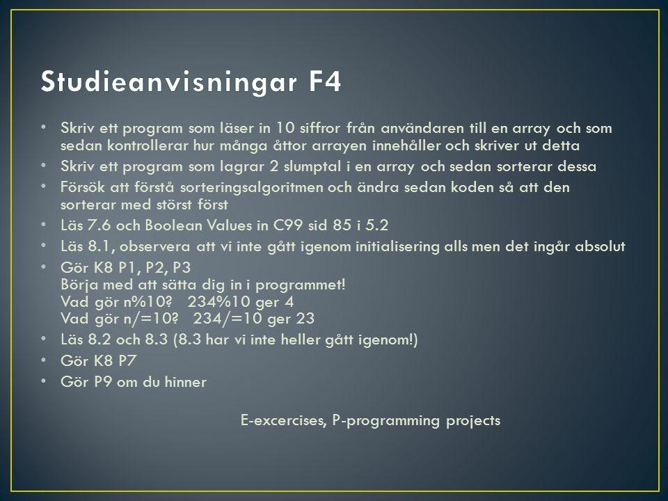 Studieanvisningar F4