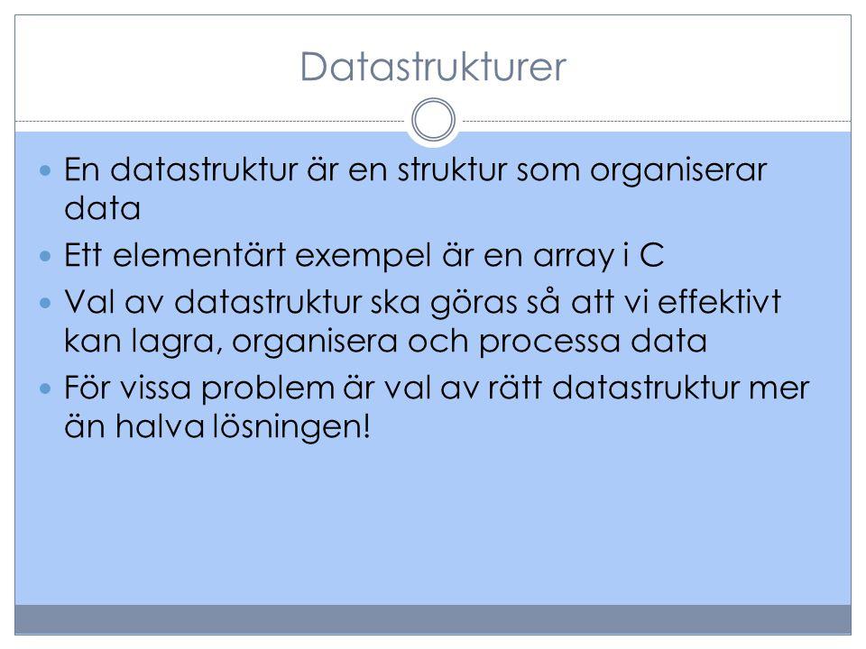 Datastrukturer En datastruktur är en struktur som organiserar data