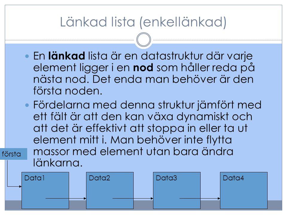 Länkad lista (enkellänkad)