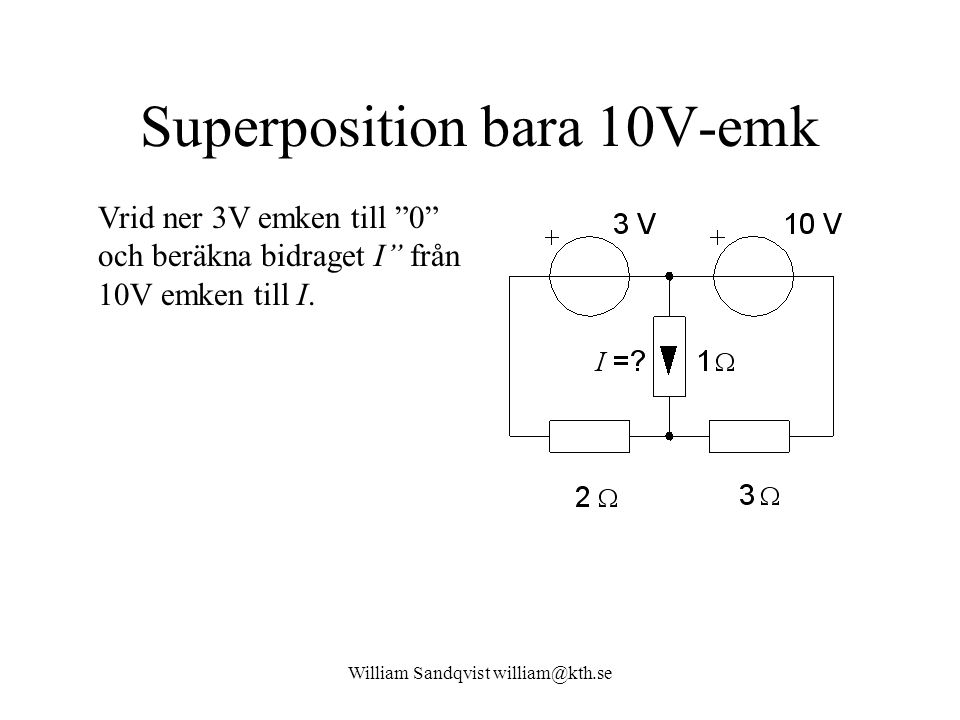 Superposition bara 10V-emk