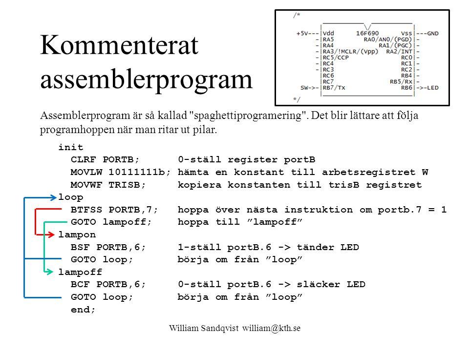Kommenterat assemblerprogram