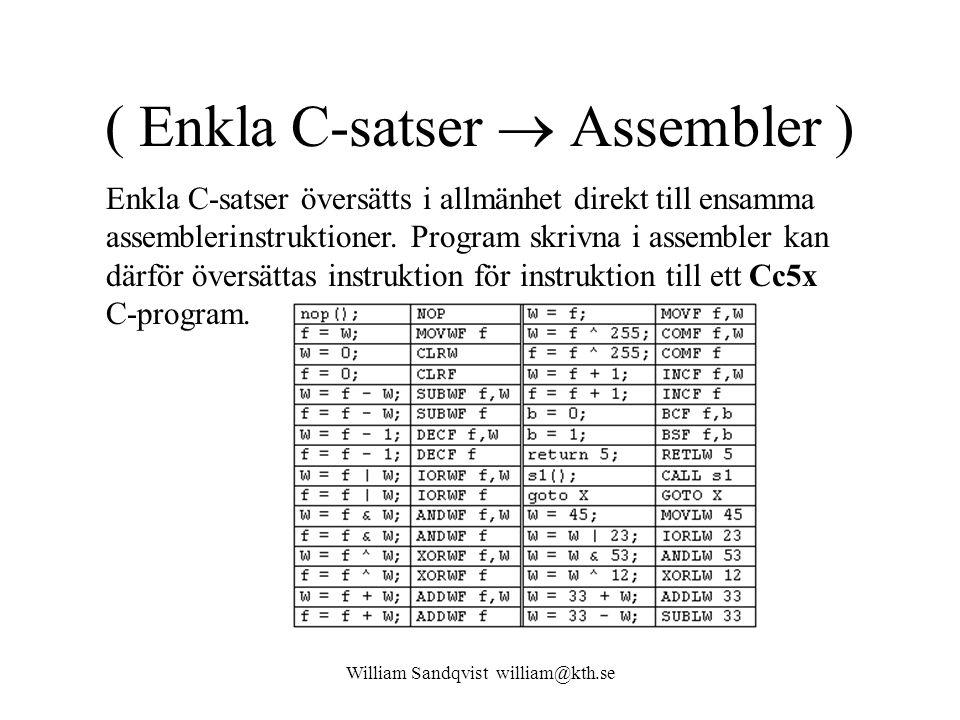 ( Enkla C-satser  Assembler )