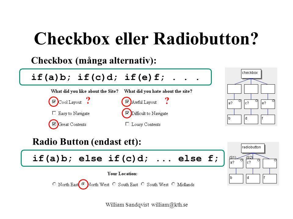 Checkbox eller Radiobutton