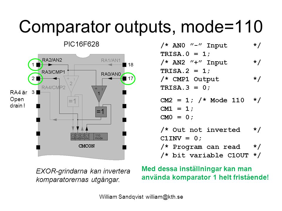 Comparator outputs, mode=110