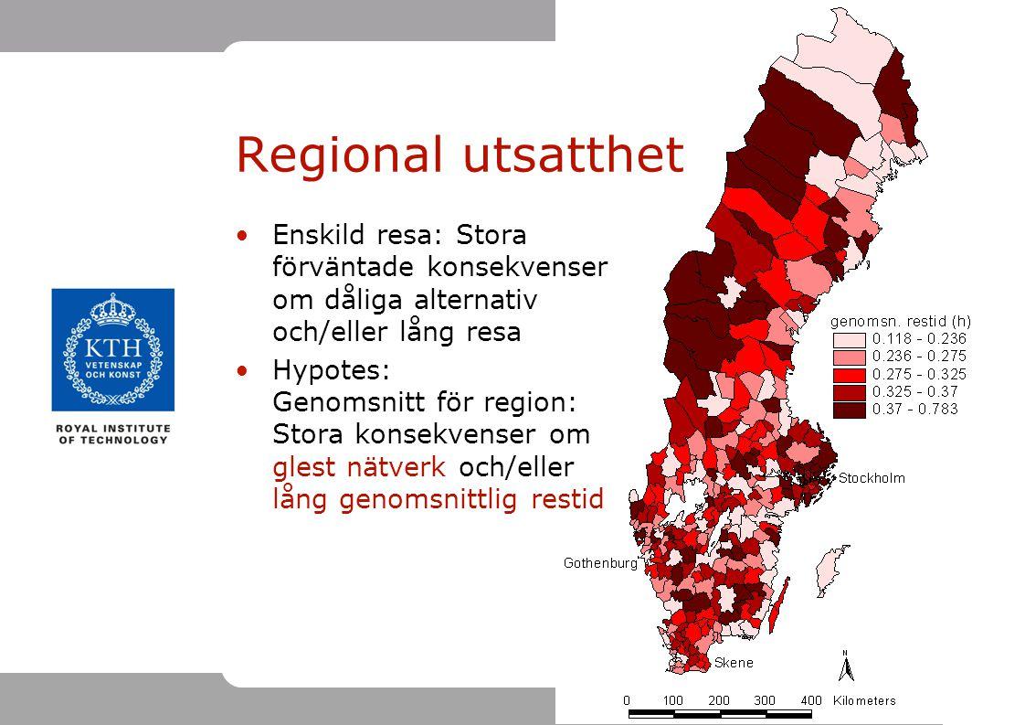 Regional utsatthet Enskild resa: Stora förväntade konsekvenser om dåliga alternativ och/eller lång resa.