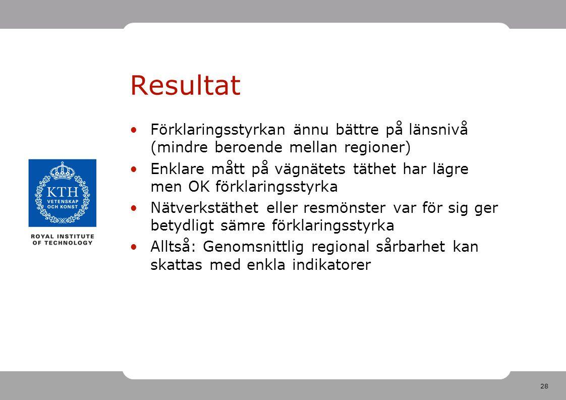 Resultat Förklaringsstyrkan ännu bättre på länsnivå (mindre beroende mellan regioner)