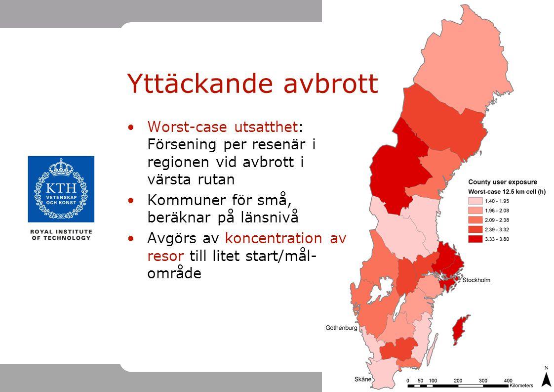 Yttäckande avbrott Worst-case utsatthet: Försening per resenär i regionen vid avbrott i värsta rutan.
