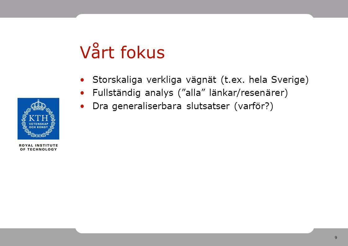 Vårt fokus Storskaliga verkliga vägnät (t.ex. hela Sverige)