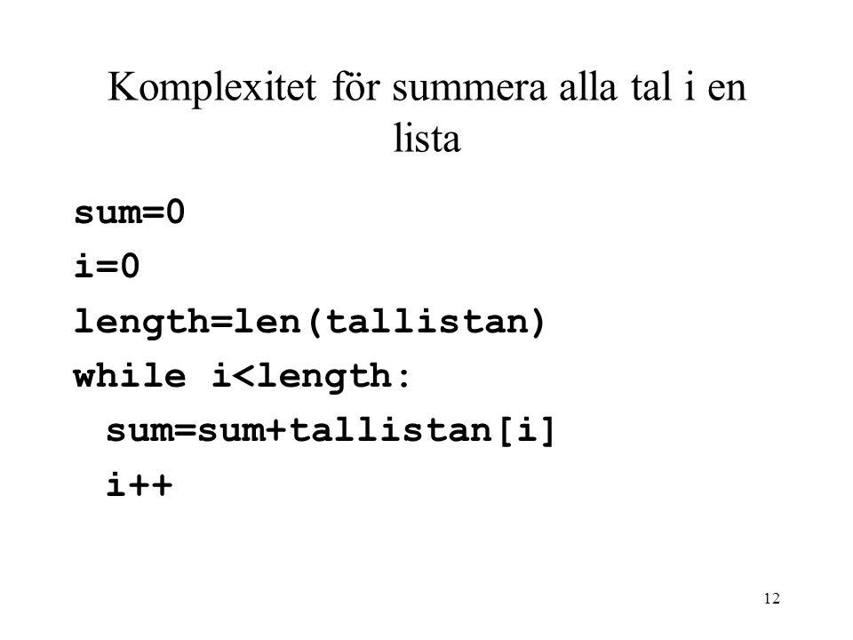Komplexitet för summera alla tal i en lista