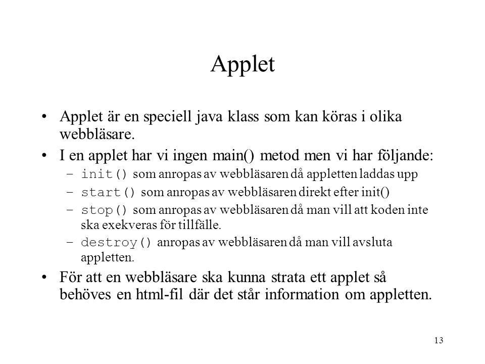 Applet Applet är en speciell java klass som kan köras i olika webbläsare. I en applet har vi ingen main() metod men vi har följande: