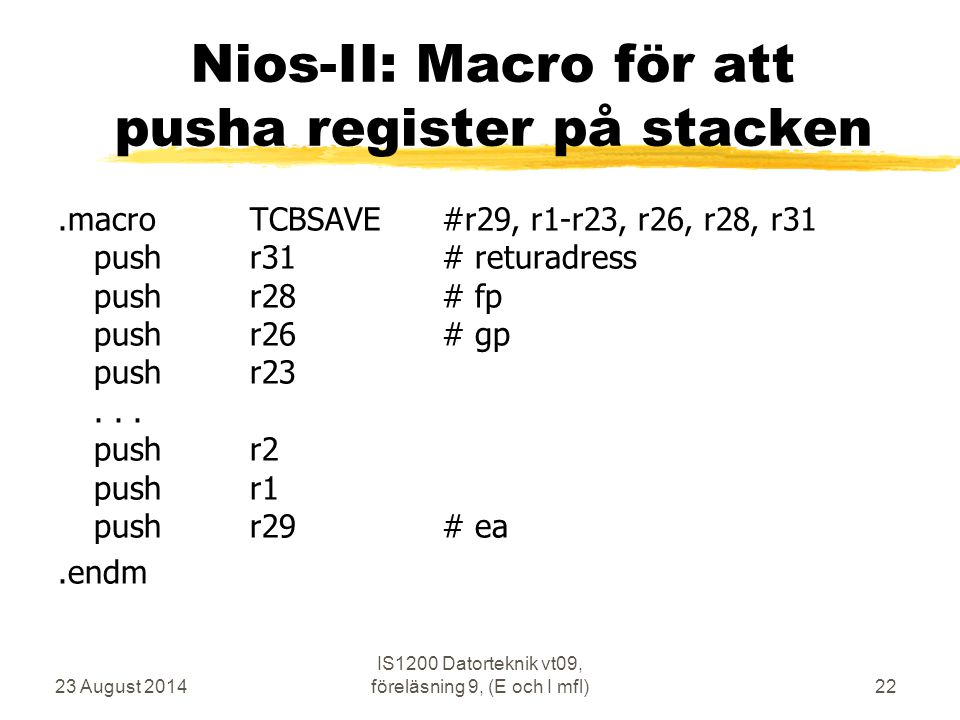 Nios-II: Macro för att pusha register på stacken