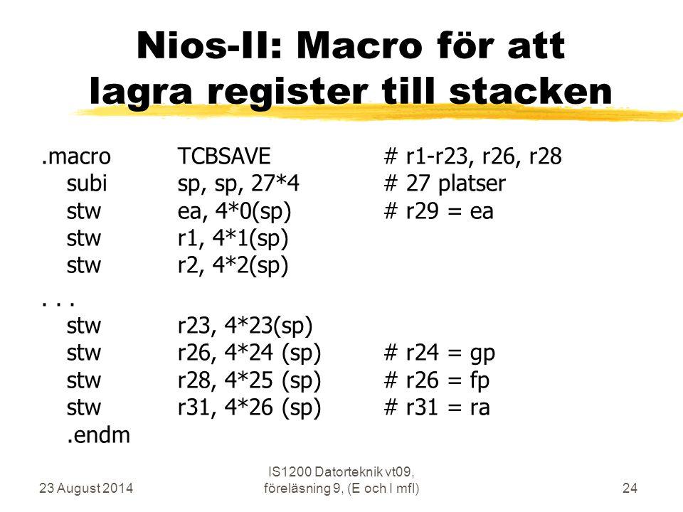 Nios-II: Macro för att lagra register till stacken