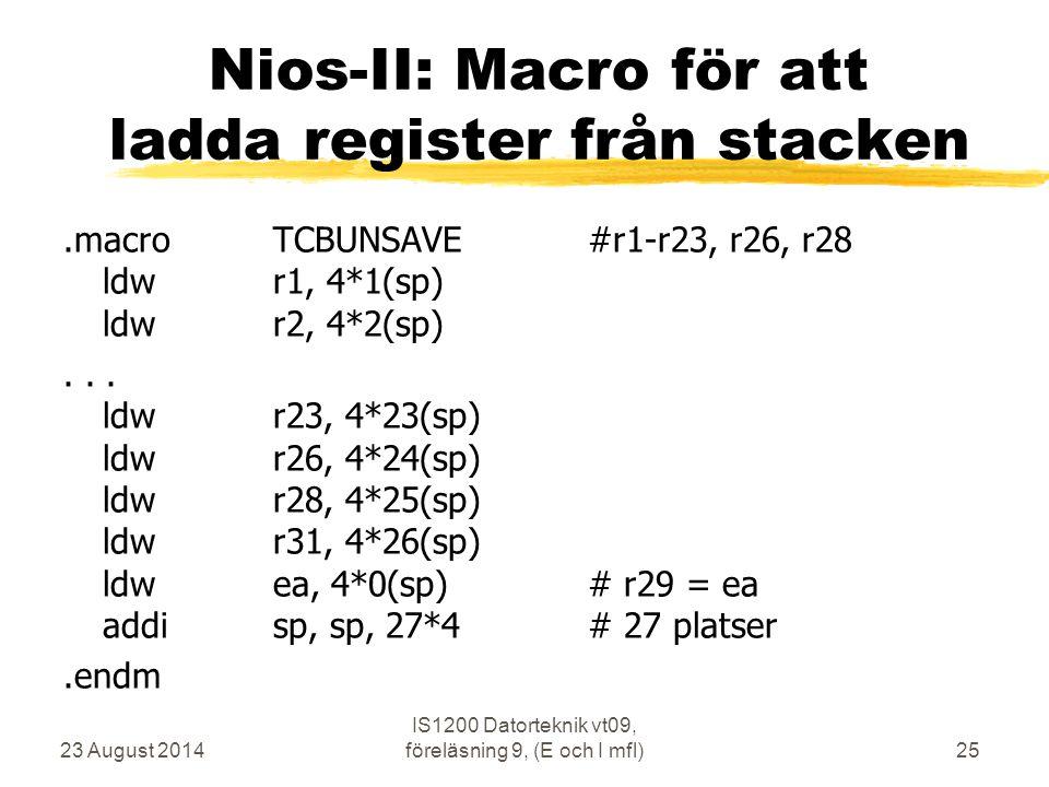 Nios-II: Macro för att ladda register från stacken