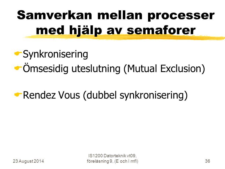 Samverkan mellan processer med hjälp av semaforer
