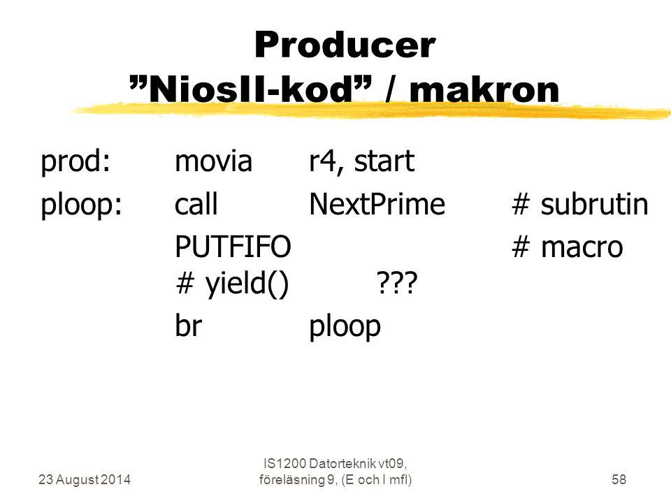 Producer NiosII-kod / makron