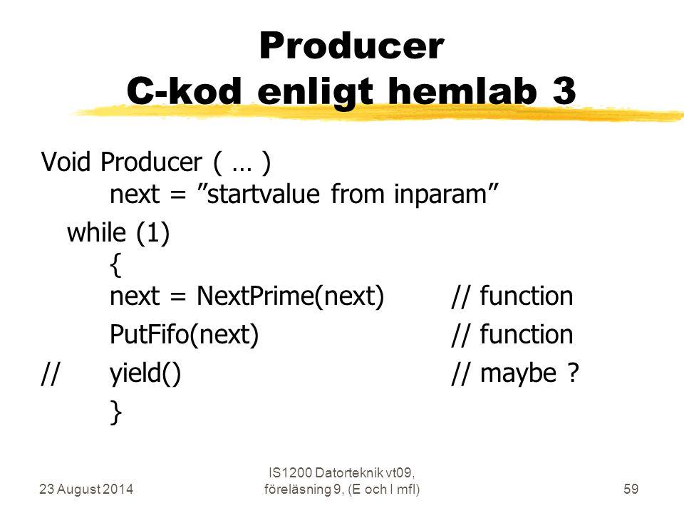 Producer C-kod enligt hemlab 3