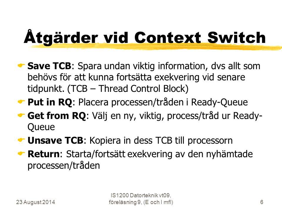Åtgärder vid Context Switch