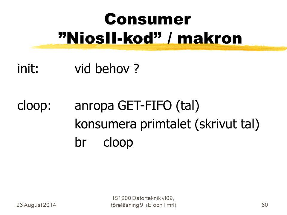 Consumer NiosII-kod / makron