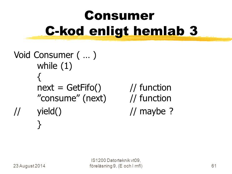 Consumer C-kod enligt hemlab 3