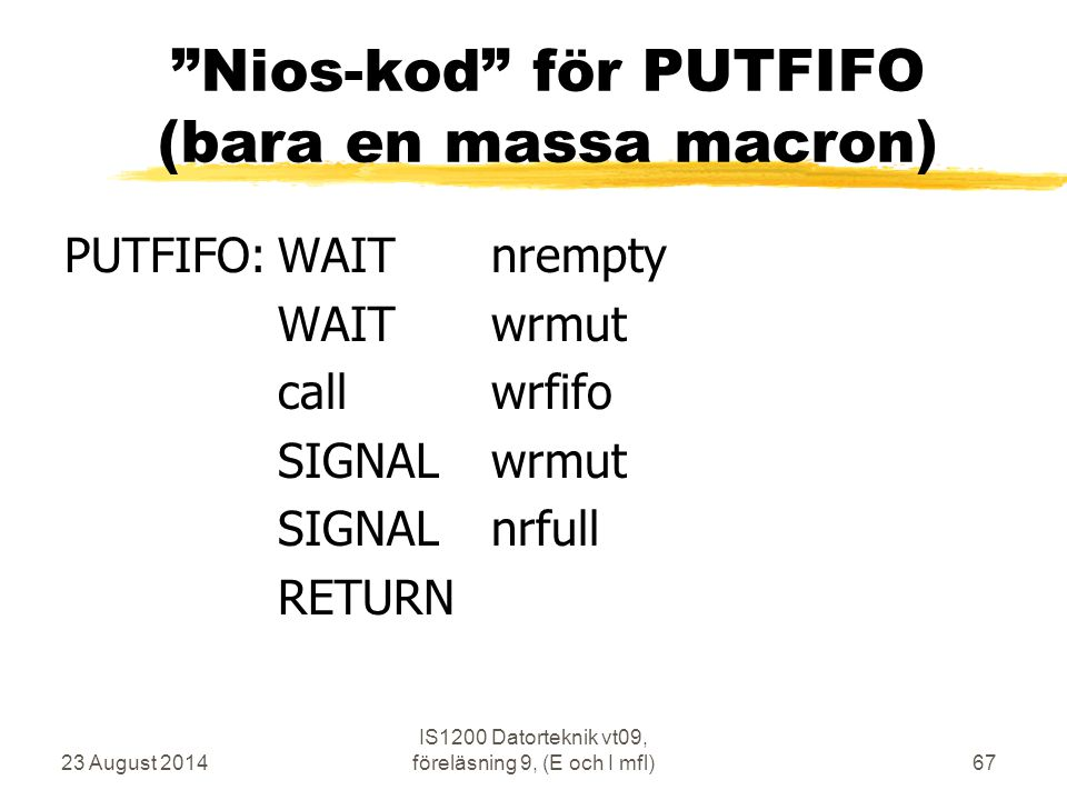 Nios-kod för PUTFIFO (bara en massa macron)