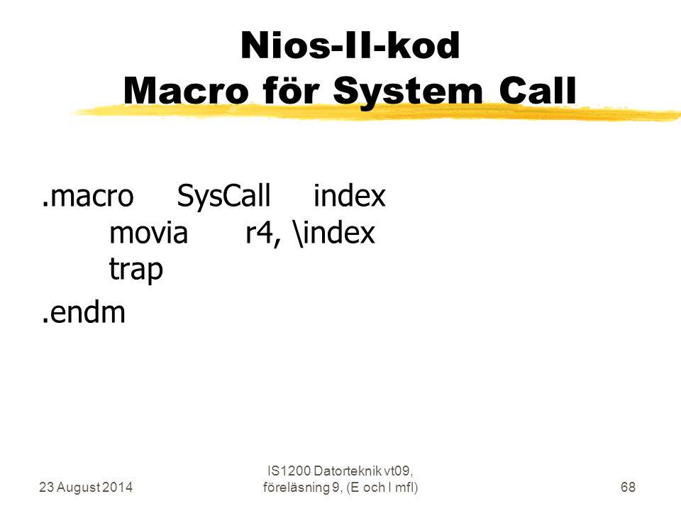 Nios-II-kod Macro för System Call