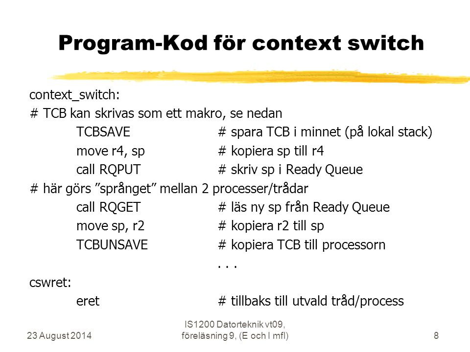 Program-Kod för context switch