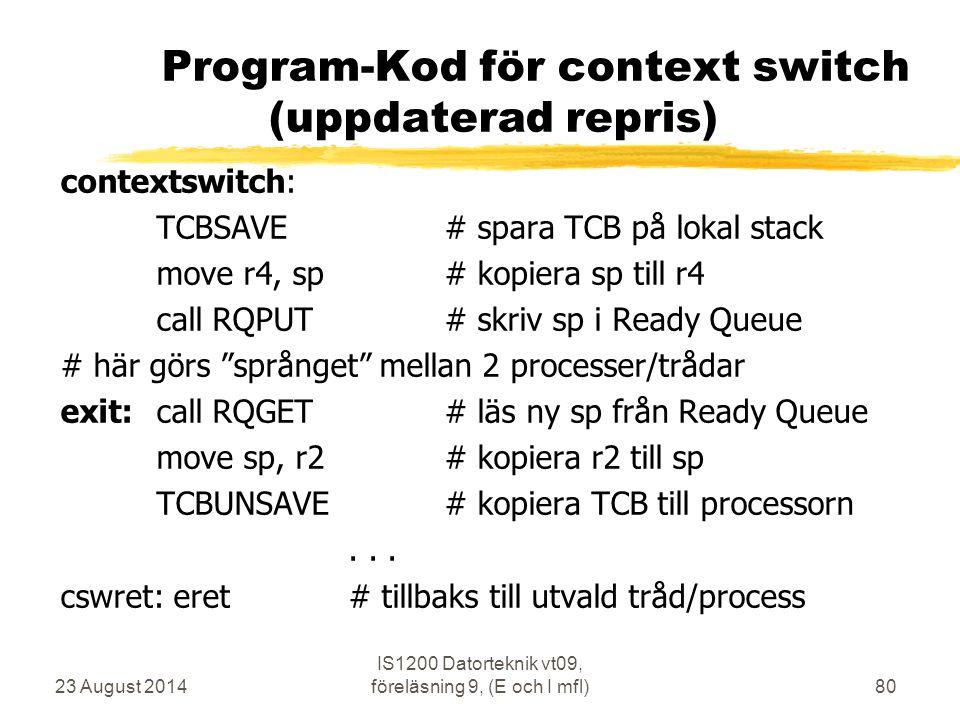 Program-Kod för context switch (uppdaterad repris)