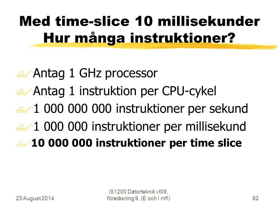 Med time-slice 10 millisekunder Hur många instruktioner