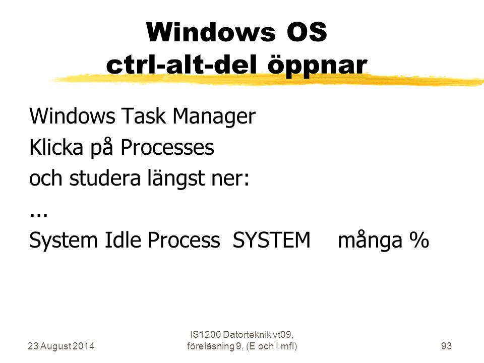 Windows OS ctrl-alt-del öppnar