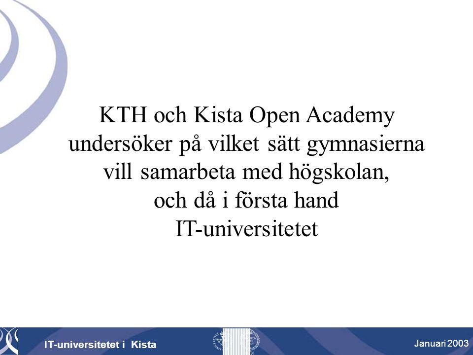 KTH och Kista Open Academy undersöker på vilket sätt gymnasierna