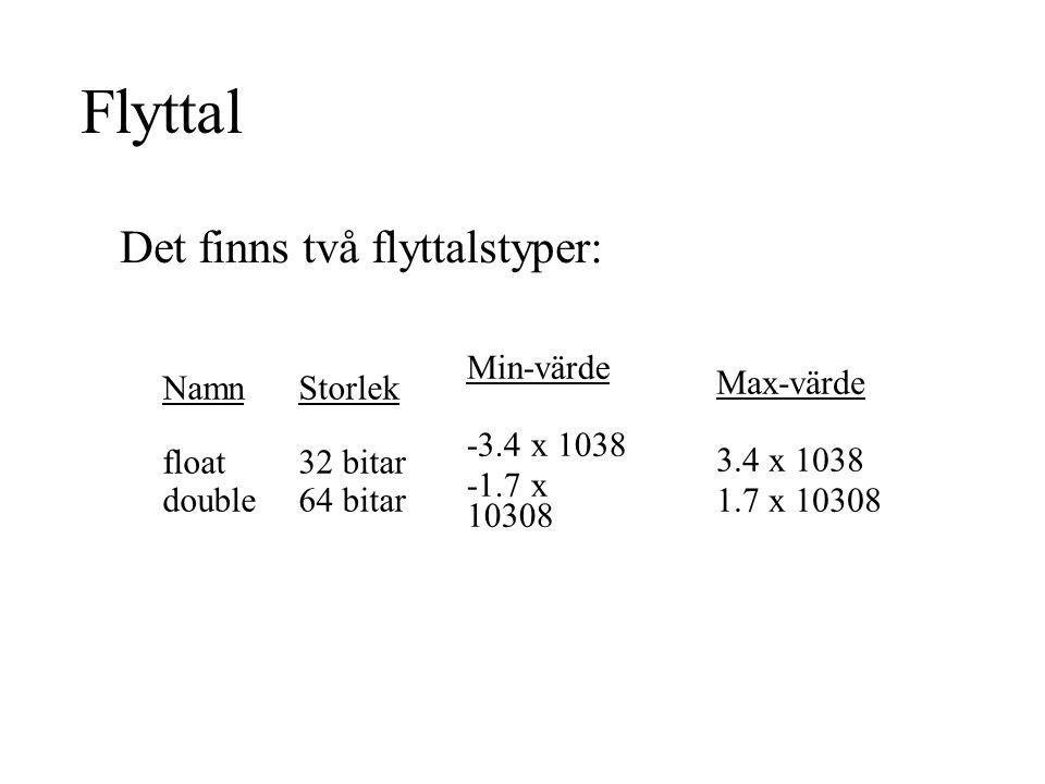 Flyttal Det finns två flyttalstyper: Min-värde -3.4 x 1038