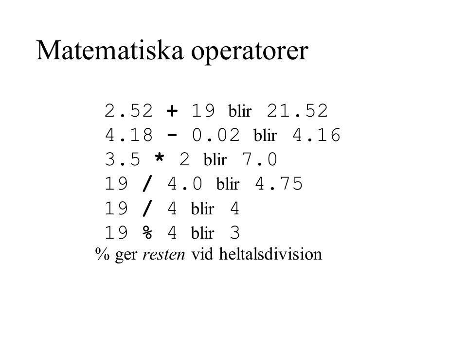 Matematiska operatorer