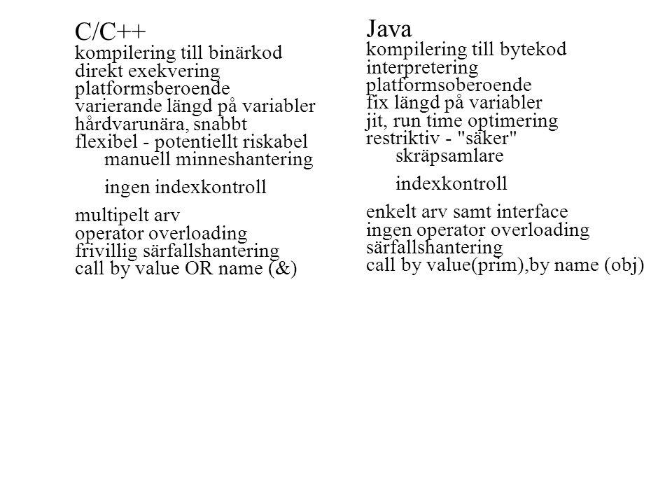 Java C/C++ kompilering till bytekod kompilering till binärkod