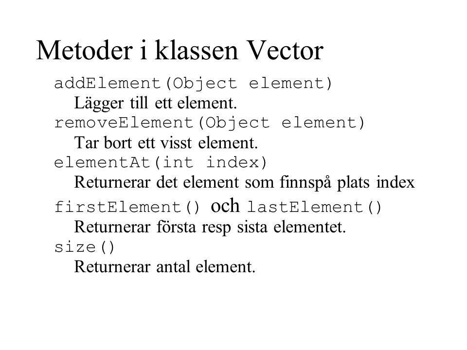 Metoder i klassen Vector
