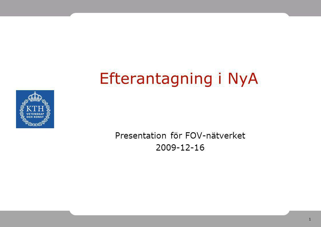Presentation för FOV-nätverket 2009-12-16