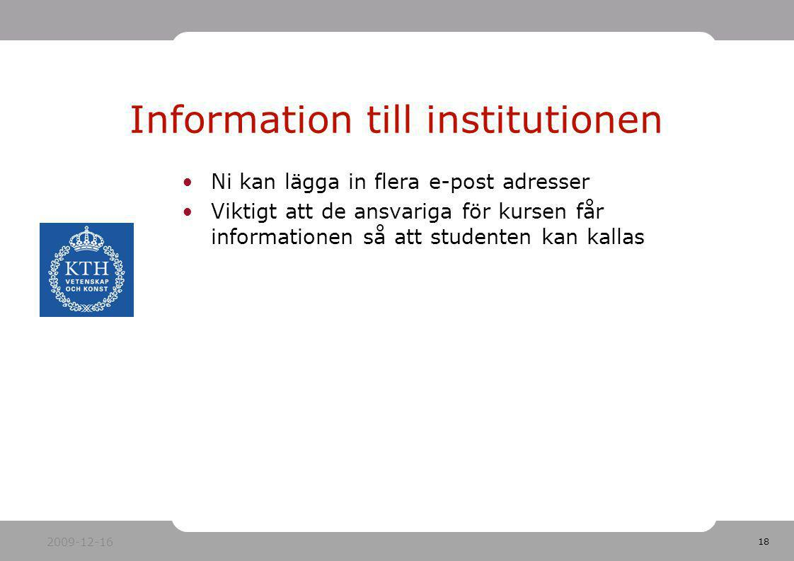 Information till institutionen