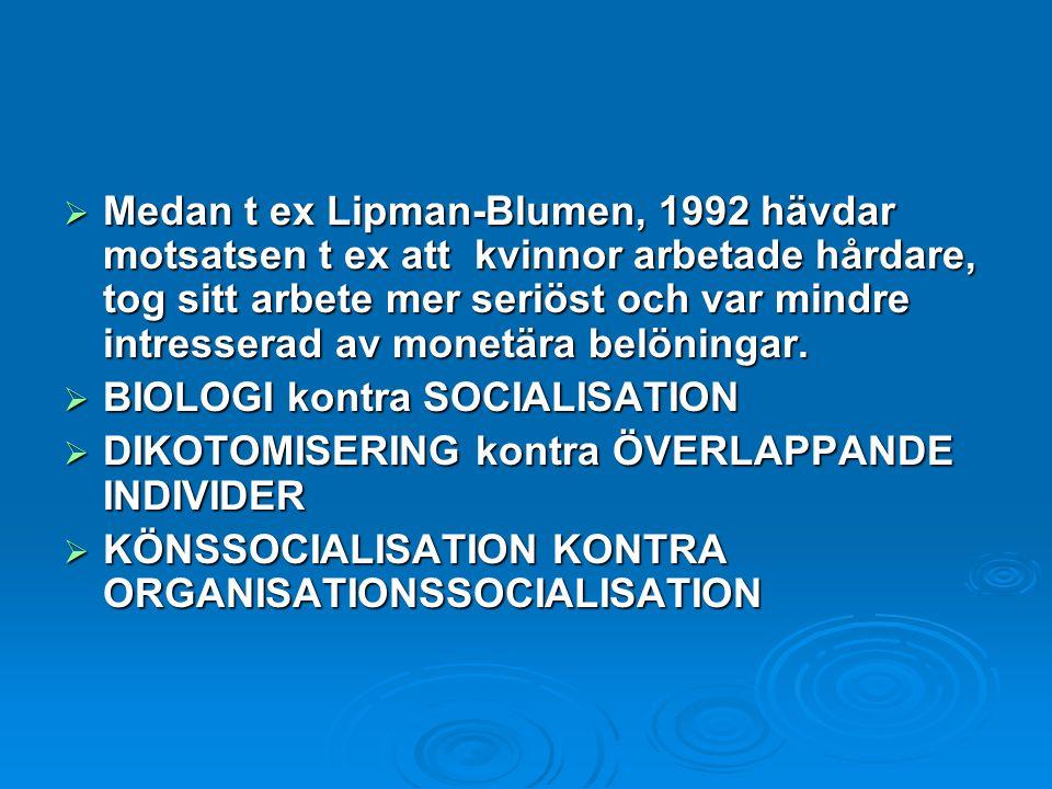 Medan t ex Lipman-Blumen, 1992 hävdar motsatsen t ex att kvinnor arbetade hårdare, tog sitt arbete mer seriöst och var mindre intresserad av monetära belöningar.