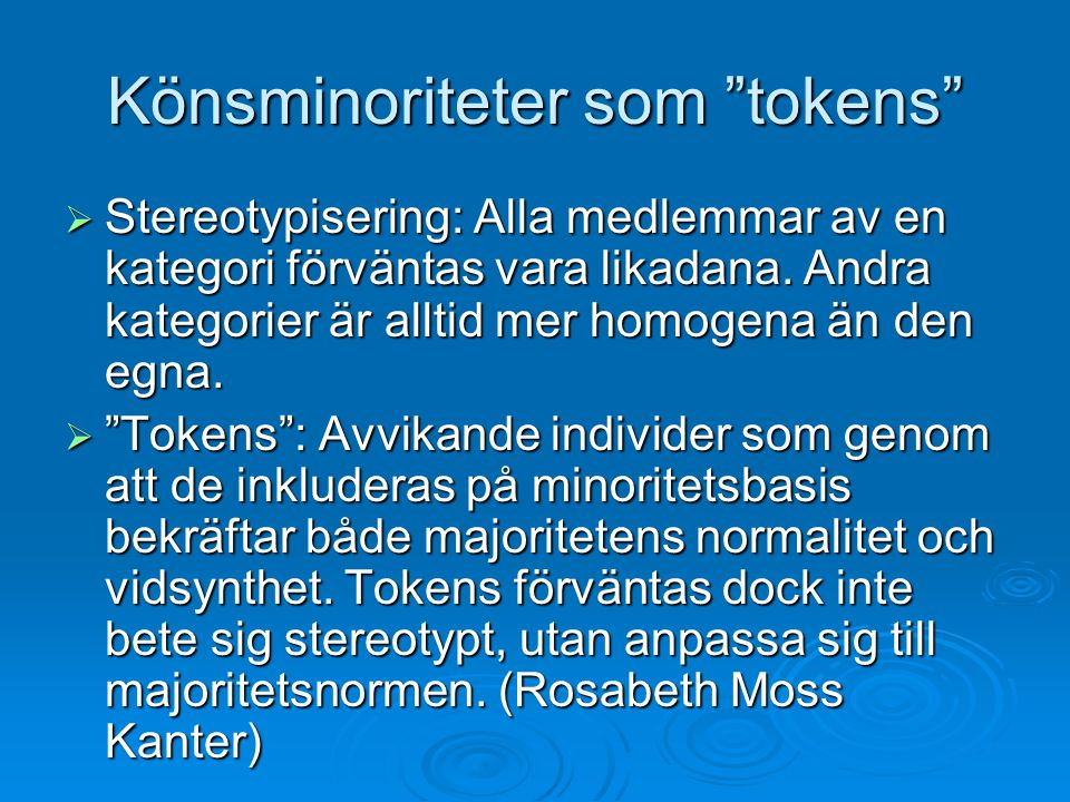 Könsminoriteter som tokens