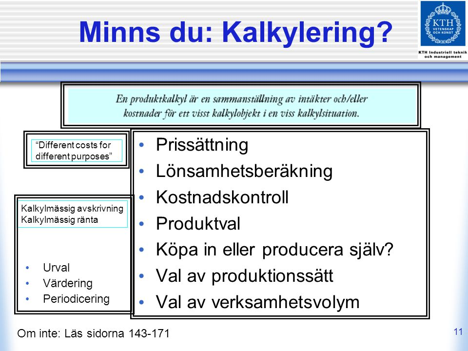 Minns du: Kalkylering Prissättning Lönsamhetsberäkning