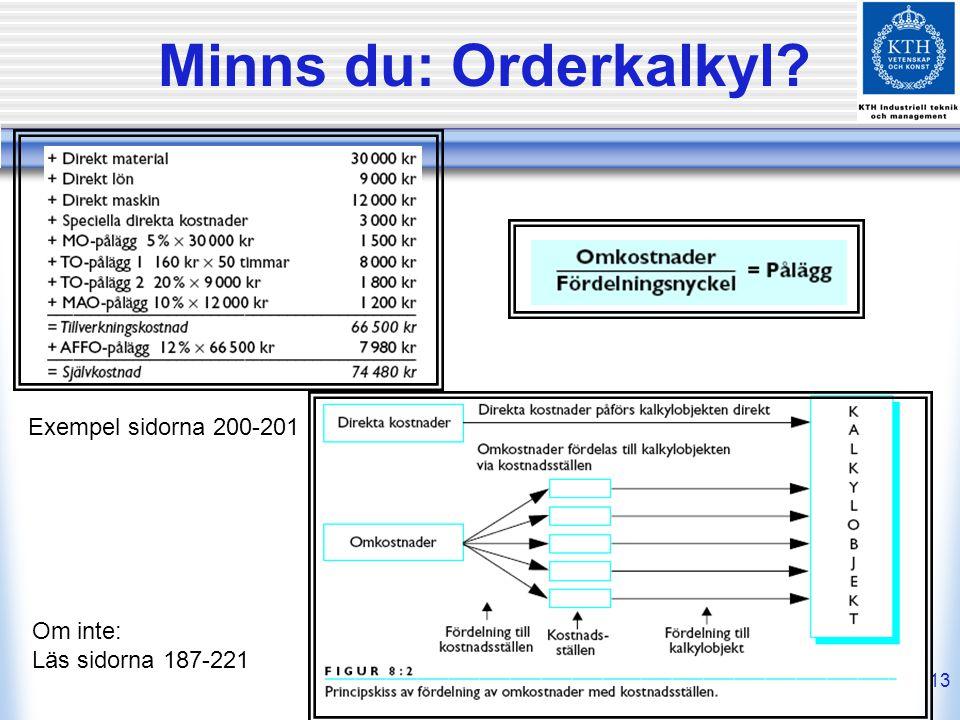 Minns du: Orderkalkyl Exempel sidorna 200-201 Om inte: