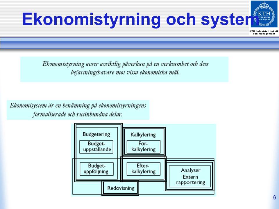 Ekonomistyrning och system